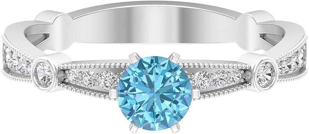 Anillo de aguamarina, piedras preciosas redondas de 0,71 quilates, anillo de promesa de solitario de 5 mm, anillo de compromiso de 6 puntas, joyería de oro para ella, 18K Oro