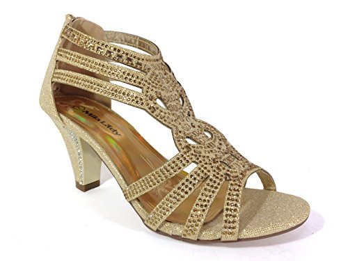 Kinmi25N Womens Open Toe Mid Heel Wedding Rhinestone Gladiator Sandal Shoes (9, Gold)
