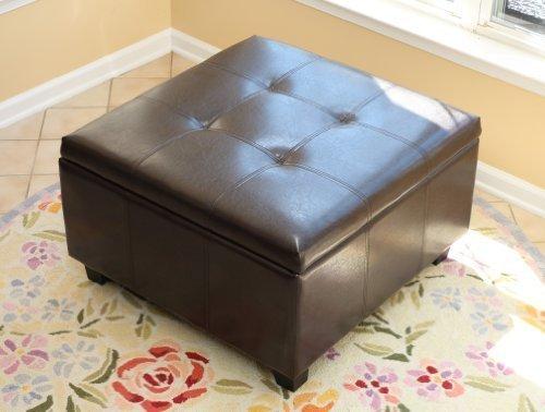 Brown Leather Storage Ottoman (Home Life Storage Coffee Ottoman Dark Brown Espresso & Black - Lift Top)
