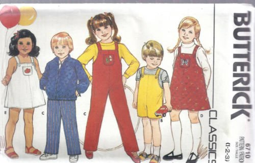 Butterick 6710 Sewing Pattern For, Childs Toddler's Overall Jumpsuit, Romper Pants Dress Jumper Shortalls and Zip Front Jacket, Sizes 1-2-3 (Shortall Jumper)