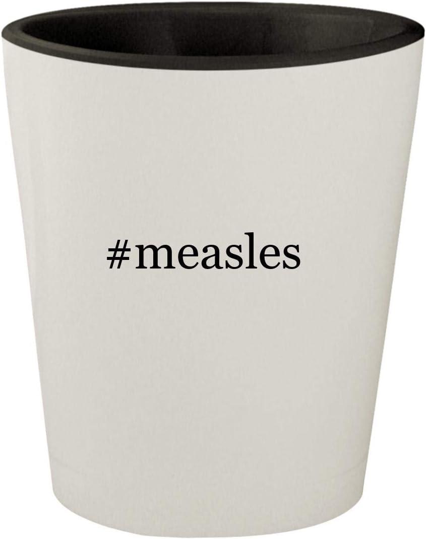 #measles - White Outer & Black Inner Hashtag Ceramic 1.5oz Shot Glass