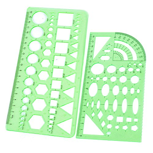 BoNaYuanDa 2pcs Measuring Templates Geometric Rulers for Office and School,Clear Green Color (Art Rulers)