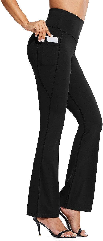 "BALEAF 29""/32""/35"" Bootcut Yoga Dress Pants for Women High Waist Tummy Control Flare Bootleg Work Pants with Pockets"