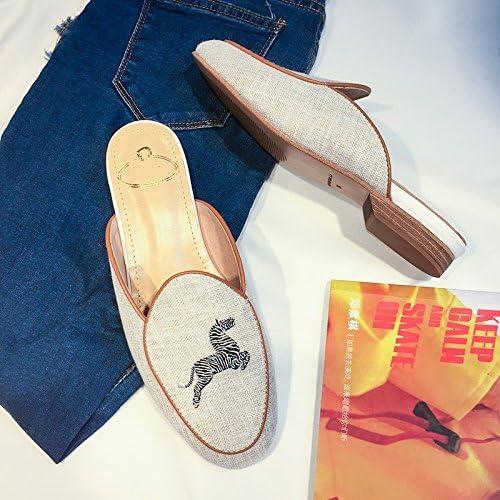 HBDLH-Scarpe da donna/Zebra Palma Ricamati Baotou Semi - Le Pantofole Femmina Fondo Piatto Tempo Libero Più Tardi Pigro Muller Scarpe 36 Lino