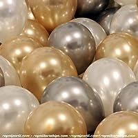 50 Adet Metalik Kaliteli (Gold-Gümüş-Beyaz Karışık) Balon
