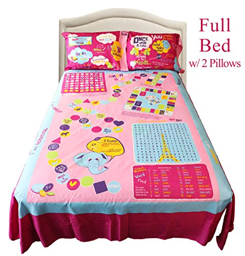 Girls Playtime Bed Sheets Full (Set of 4) - Smart Bed Sheets, Over 50 Interactive Fun Games
