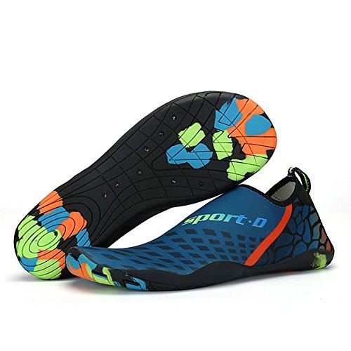 Leyang Women Men Water Shoes Lightweight Quick Dry Non-Slip Barefoot Beach Shoes Multifunction Aqua Socks Pool Swim Surf Yoga Darkblue