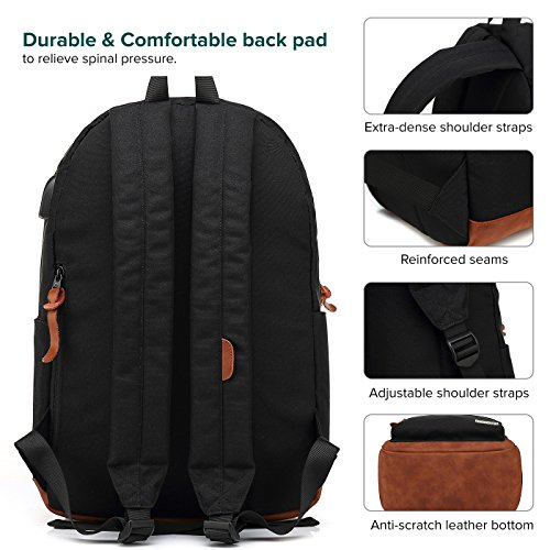 Laptop Backpack, Waterproof School Backpack With USB Charging Port For Men Women, Lightweight Anti-theft Travel Daypack College Student Rucksack Fits 14-inch Computer - Black by UNIWALK (Image #4)