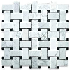 Premium Grade Basketweave White Carrara Marble Mosaic tiles. Italian Bianco Carrera White Venato Carrara Polished 1 x 2 Basket Weave Mosaic w/ Black Dots Wall & Floor Tiles are perfect for any interior/exterior projects. The Carrara White...
