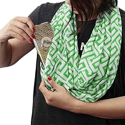 Womens Greek Key Pattern Infinity Scarf Wrap Soft Warm Scarf White Zipper Pocket, Infinity Scarves (Green, Free Size :19.6x62.9 inch)