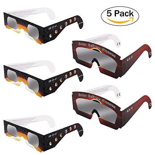 Price comparison product image Solar Eclipse Glasses,  5 Pack Eclipser HD Safe Solar shades black frame Glasses CE and ISO Tested Flexible Paper Glasses Family Size