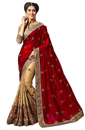 s Silk Embroidery Work With Blouse Piece Saree K724 (Red) ()