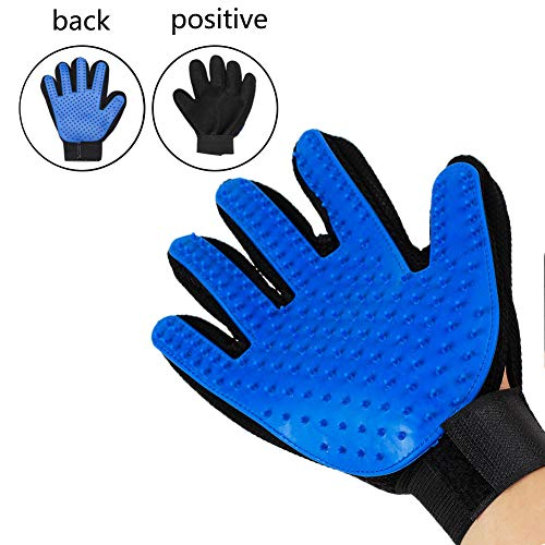 FEILINK Pet Grooming Glove – Gentle Deshedding Brush Glove – Rubber Pet Hair Remover Mitt – Enhanced Five Finger Design – Perfect for Dog, Cat and Horse with Long & Short Fur Right Blue