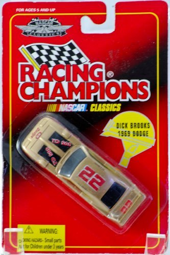 1996 - Racing Champions - NASCAR Classics - Dick Brooks - 1969 Dodge Charger - #22 - Gold & Red - 1:64 Scale Die Cast - Rare - OOP - Collectible