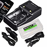 Fenix ARE-C1+ Plus smart digital display home/in-car battery charger with EdisonBright battery carry case