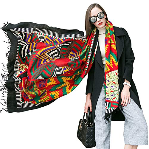 - DANA XU 100% Pure Wool Women Winter Large Scarf Pashmina (Green&Black)