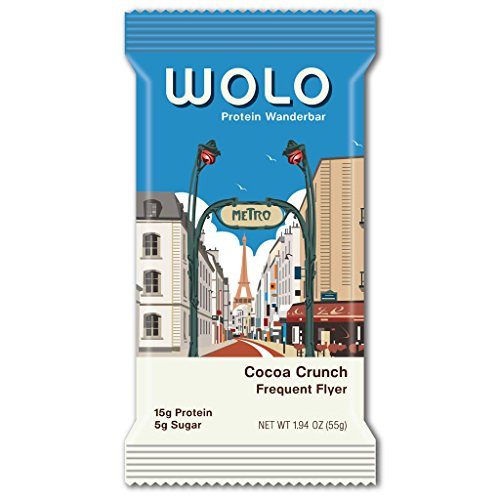 WOLO WanderBar, Cocoa Crunch, 12 Bars, All Natural Protein Bar, 15g Protein