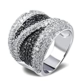 AmDxD Jewelry Gold Plated Women Engagement Rings Silver Artificial Cubic Zriconia Inlaid Size 7
