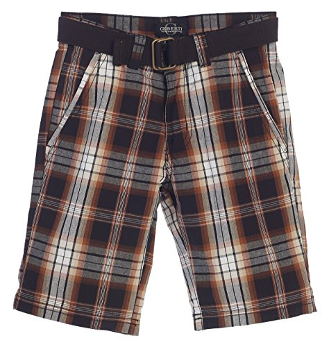 - Gioberti Boys Plaid Shorts with Front Button & Zipper, Brown/Charcoal, Size 6
