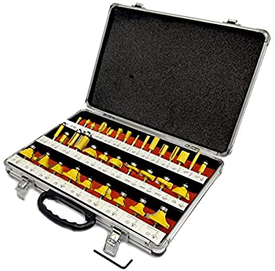 "ROUTER BITS 35pc SET 1/4"" SHANK Tungsten Carbide Tips, Aluminum Carry Storage Case Multi Piece Kit"