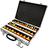 "ROUTER BITS 35pc SET 1/4"" SHANK Tungsten Carbide Tips, Aluminum Carry Storage Case Multi Piece Kit"