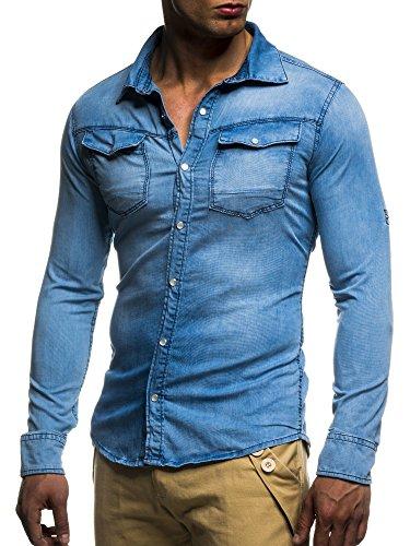 LEIF NELSON Herren Jeans Hemd Slim Fit BŸgelleicht Trend Langarm Freizeit Denim; Grš§e S, Blau