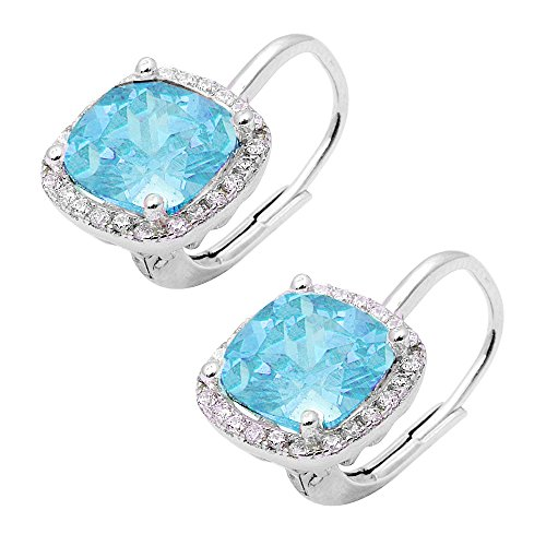 Cushion Cut Simulated Gemstone and Cubic Zirconia .925 Sterling Silver Earrings Colors Available (Simulated - Aqua Emerald