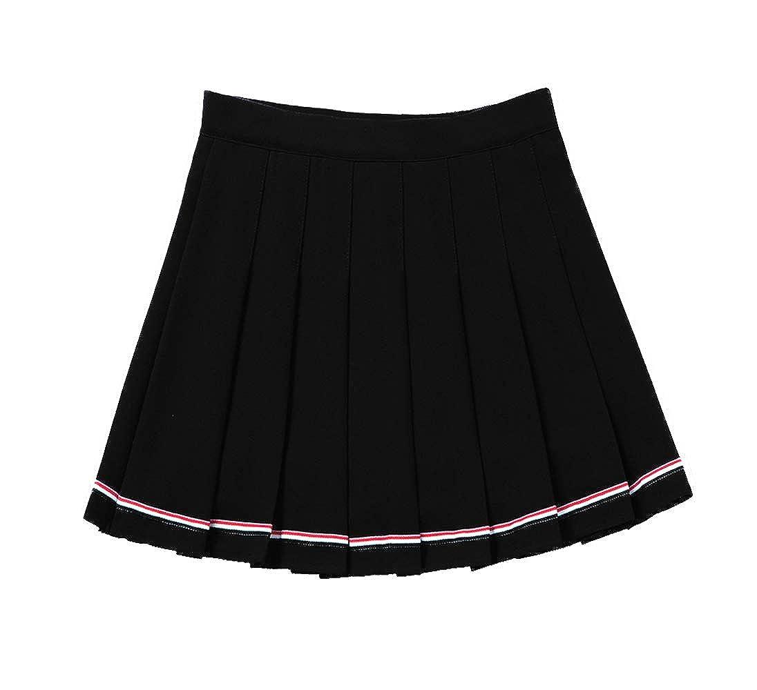 Black YOUGUE Pleated Tennis Skirt Cheerleader Uniform Skirt for Women Girls