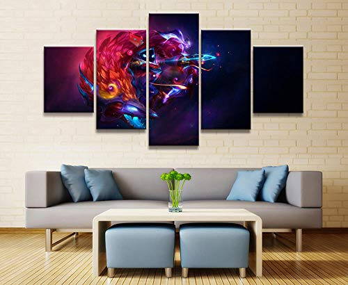 sansiwu 5 Panel League of Legends Kindred Game Canvas Printed Painting for Living Room Wall Art Decor Hd Picture Artworks Poster