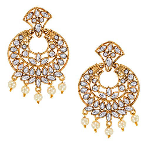 Aheli Classy Indian Traditional Kundan Dangle Earrings Bollywood Ethnic Jewelry with Drop Pearls for Women ()
