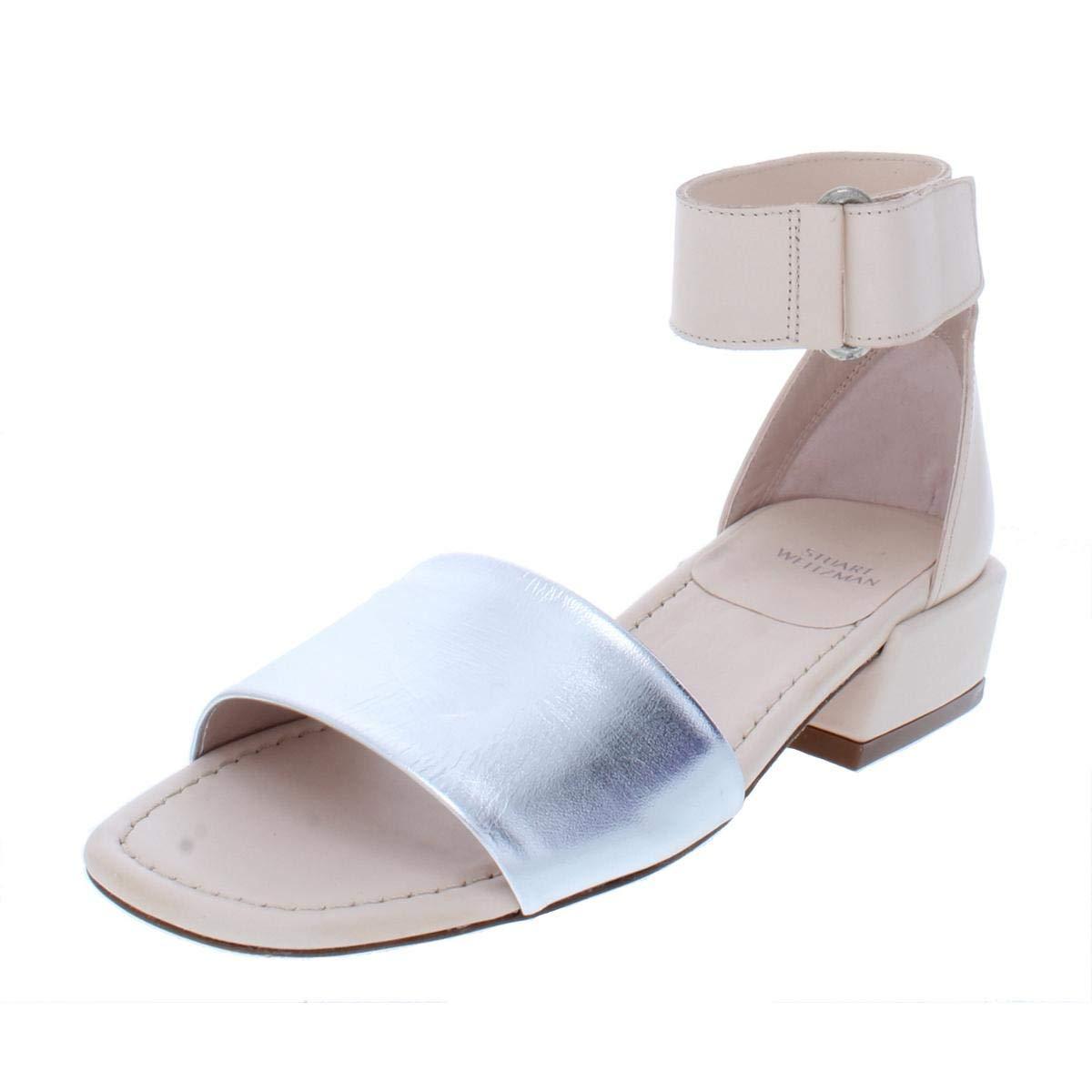 Silver Supple Leather Stuart Weitzman Womens Oneway Leather Metallic Dress Sandals