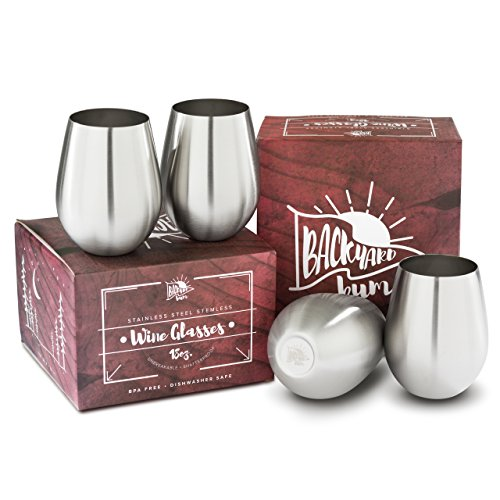Backyard Bum Stainless Steel Stemless Wine Glasses | Unbreakable | Highest Quality 18/8 SS | Set of 4 -18oz | BPA Free, Dishwasher Safe, Portable | Indoor/Outdoor Camping, Picnics, Pool | Perfect Gift