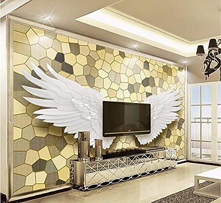Papel tapiz Papel de pared 3D Alas de ángel Mosaico Mural Pintura de pared Salón de lujo Fondo de TV Decoración para el hogar-(W)430x(H)300cm Silk Cloth: Amazon.es: Bricolaje y herramientas