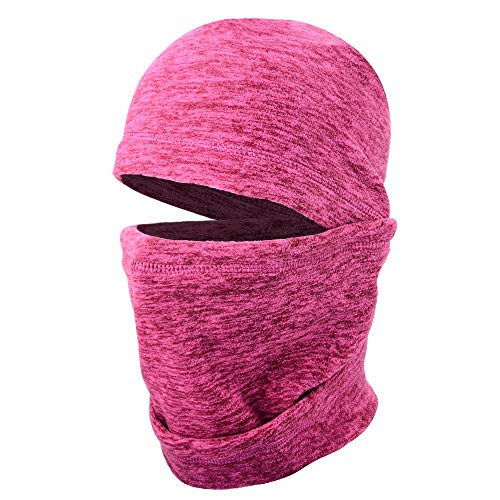 JIUSY 1 Pack - Thick Fleece Balaclava Neck Warmer Hood Cover Face Mask Windproof Wind Dust Protection for Ski Snowboard Hunting Hiking Walker Camping Cycling Cold Weather Winter Gear Red