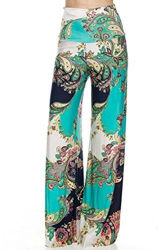 Color small Pasley Turquesa Y For Diseño Blanco Pantalones Talla Pantalón Mujer U Lässiges Super Verano Verde Elástico Cómodo Azul UwFqPx44