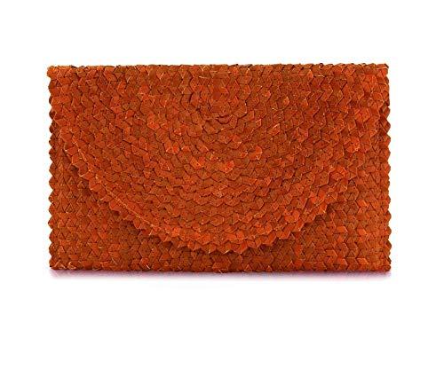 Women Handbag Balinese Woven Straw Clutch (Orange)