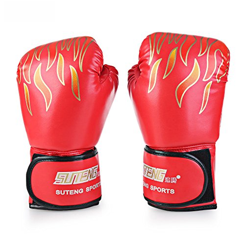 PU Leather Boxing Gloves Punching Bag Fire Fighting Professional Training Gloves (Red) (Foam Firefighting)