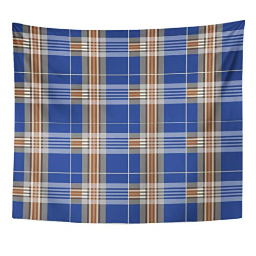 Emvency Tapestry British Tartan Flannel Patterns Trendy Tiles for Pride of Scotland Platinum 10 No Celtic Home Decor Wall Hanging for Living Room Bedroom Dorm 60x80 Inches