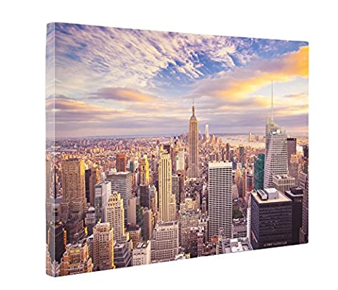 Niwo Art (TM) - New York Cityscape Picture On Canvas - Giclee Wall Art for Home Decor, Gallery Wrapped, Stretched and Framed Ready to Hang ()