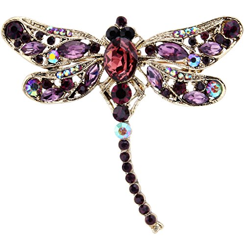 EVER FAITH® Antique Gold-Tone Rhinestone Crystal Little Dragonfly Brooch Purple