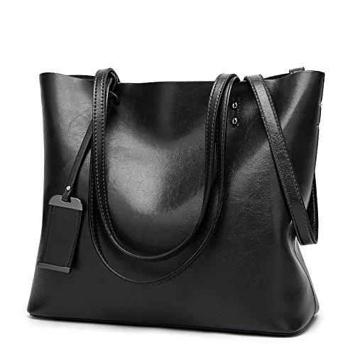 ALARION Women Top Handle Satchel Handbags Shoulder Bag Messenger Tote Bag Purse,Black