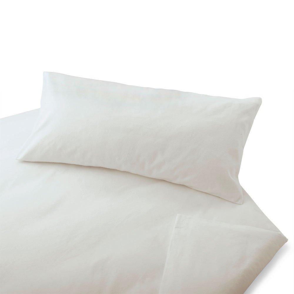 Cotonea Biber Bettwäsche Uni weiß Bio-Baumwolle Bettbezug einzeln 155x220 cm