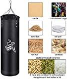 NUBARKO Punching Bag UNFILLED Set Kick Boxing Heavy MMA Training with Hanging Chain Muay Thai Martial Arts