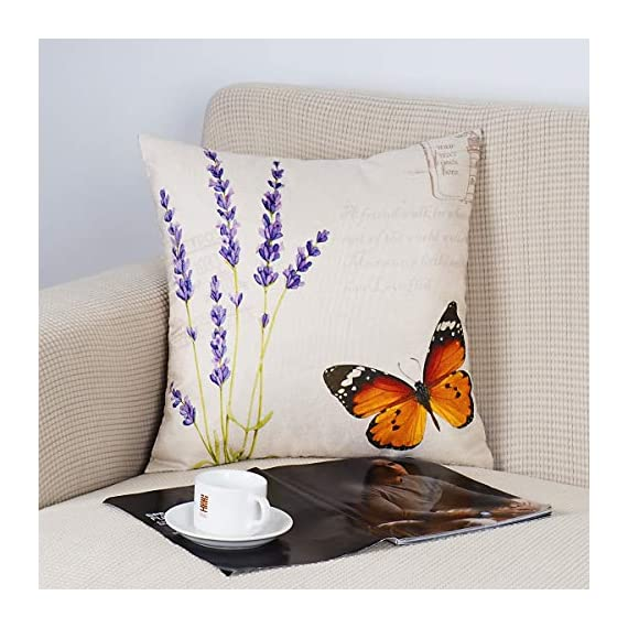 "ONWAY Outdoor Garden Decoration Bee/Butterfly/Dragonfly/Ladybug Pillow Case Leaf/Lavender/Flower Decorative Throw Pillow… - MATERIAL: 100% handmade and made of environment-friendly material and fabric--50% Cotton + 50% Linen COLOR&SIZE: Sand-like color ( Not white) bee ladybug throw pillow covers are 18 x 18 inches (standard decorative throw pillow cover size 45 x 45 cm) and can be used with 18"" x 18"" or 20"" x 20"" pillow inserts. WIDELY USED: Makes the perfect accent on a couch, sofa, chair, window seat or bed. It also makes a perfect housewarming or birthday gift. - patio, outdoor-throw-pillows, outdoor-decor - 51BuIxK5CTL. SS570  -"