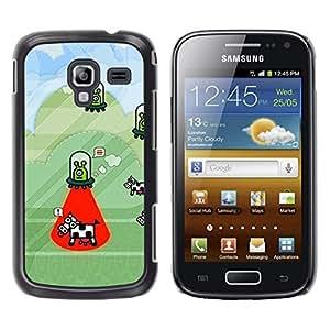 For Samsung Galaxy Ace 2 I8160 / Ace2 II XS7560M Case , Cow Abduction Funny Cartoon Conspiracy - Diseño Patrón Teléfono Caso Cubierta Case Bumper Duro Protección Case Cover Funda