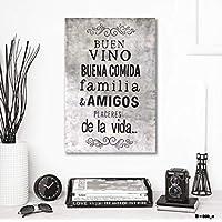 Ares Design Atelier Cuadro Decorativo Vintage/Pintado a Mano/Buen Vino Familia Amigos / 60 X 40 / Decoración Sala/Comedor/Casa/Bar/Cantina