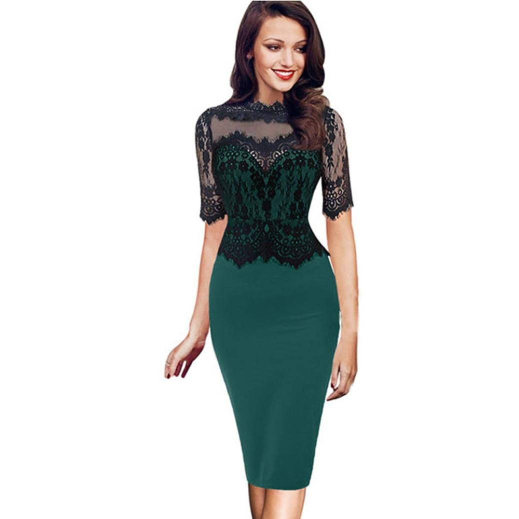 Minisoya Women Vintage Bodycon Office Business Lace Pencil Dress Prom Gown Formal Evening Party Cocktail Midi Dress (Green, M)