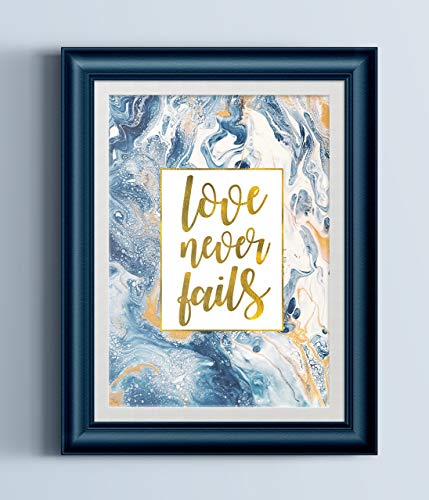 Love Never Fails Fluid Painting Typography Print -