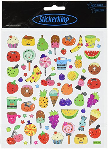 Tattoo King Multi-Colored Stickers-Fruit Faces