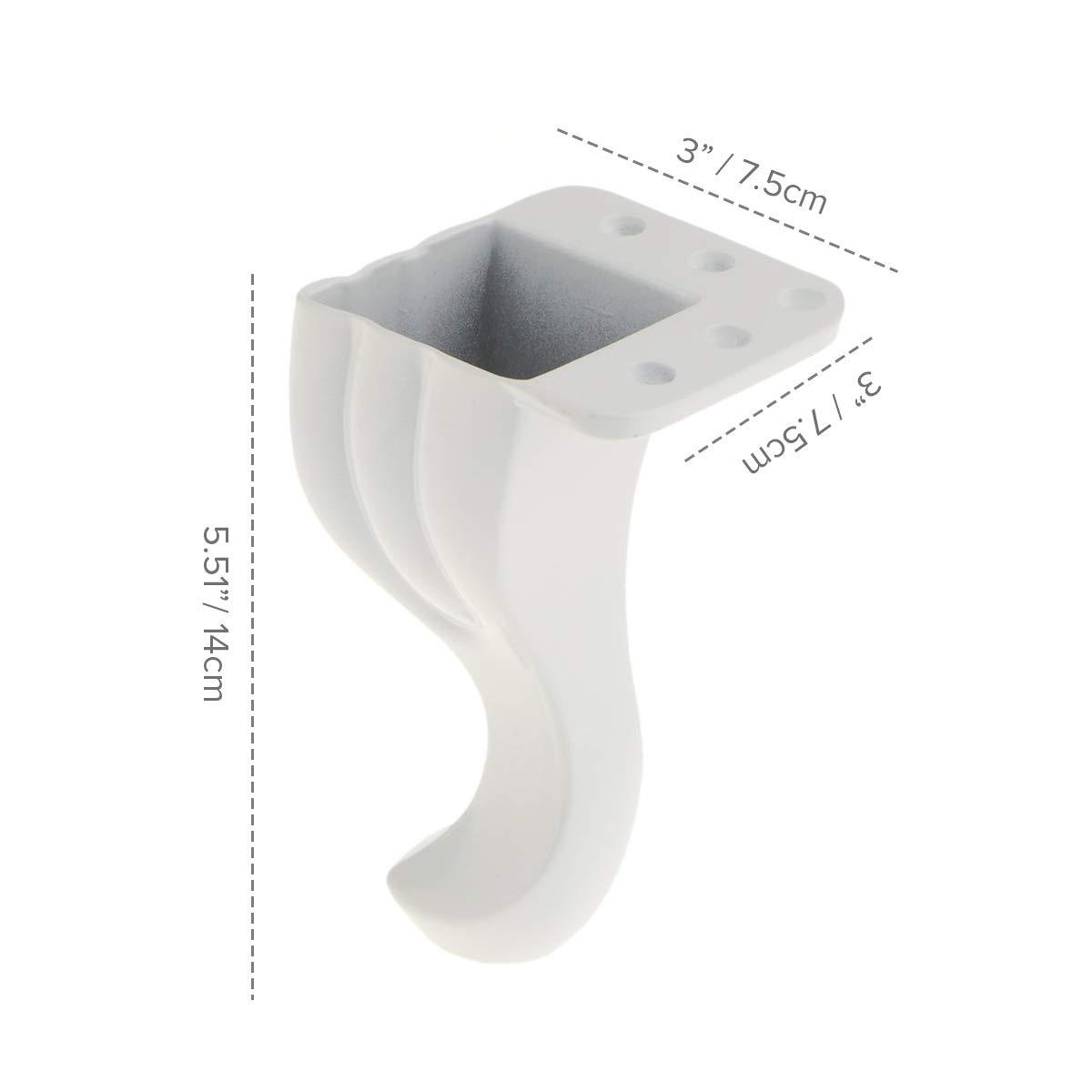 14cm Metall M/öbelf/ü/ße La Vane 4 St/ück Aluminium Rund Verstellbar Tischbeine Schrankf/ü/ße Wei/ß f/ür Schrank Sofa K/üche Tisch 5.5